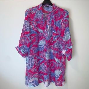 Talbots Shell patterned pink blue tunic 3378